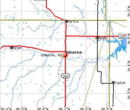 Osborne, KS map