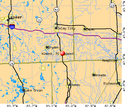 Almont, MI map