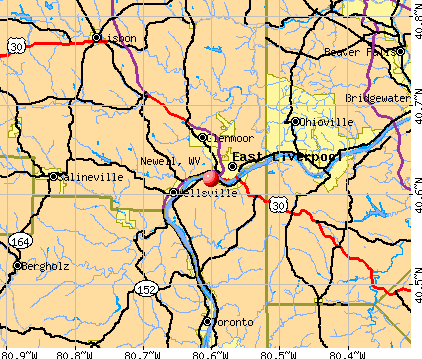 Newell, WV map