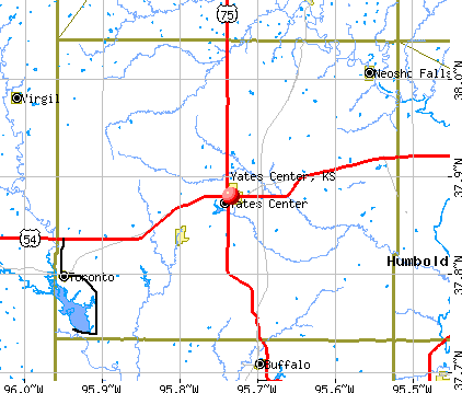Yates Center, KS map
