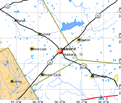Hubbard, TX map
