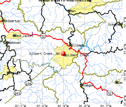 Gilbert Creek, WV map