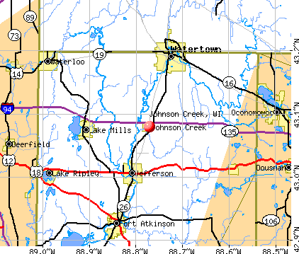 Johnson Creek, WI map