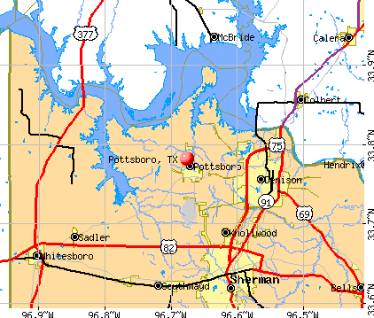 Pottsboro, TX map