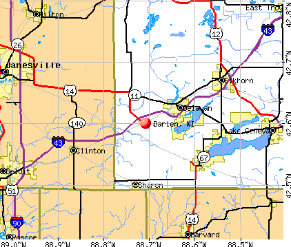 Darien, WI map