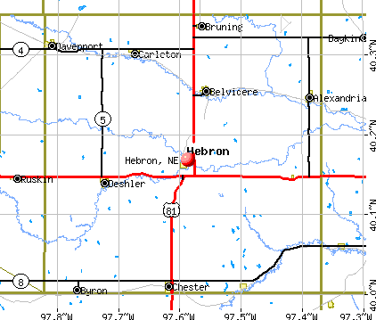Hebron, NE map