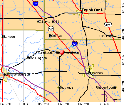 Thorntown, IN map