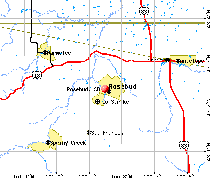 Rosebud, SD map