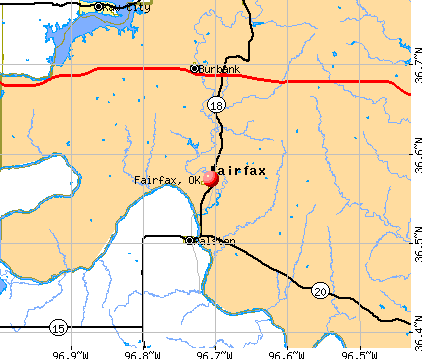 Fairfax, OK map