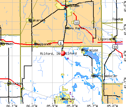 Milford, IN map