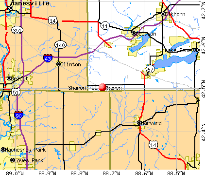 Sharon, WI map