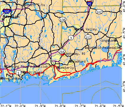 Ashaway, RI map