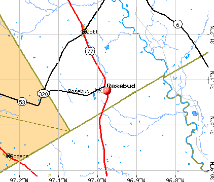 Rosebud, TX map