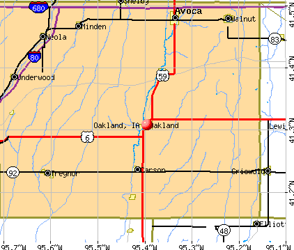 Oakland, IA map
