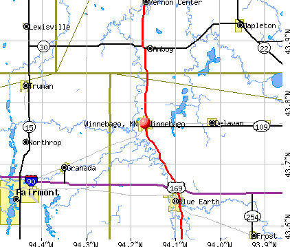 Winnebago, MN map