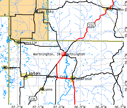 Worthington, IN map