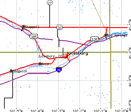 Julesburg, CO map