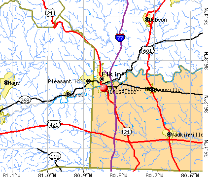 Jonesville, NC map