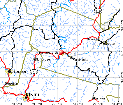 Parsons, WV map