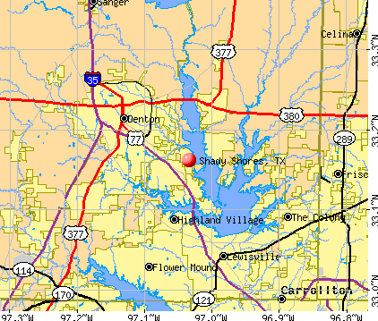 Shady Shores, TX map