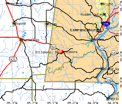 Dillsboro, IN map