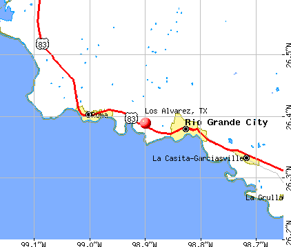 Los Alvarez, TX map