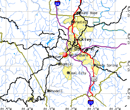 Crab Orchard, WV map