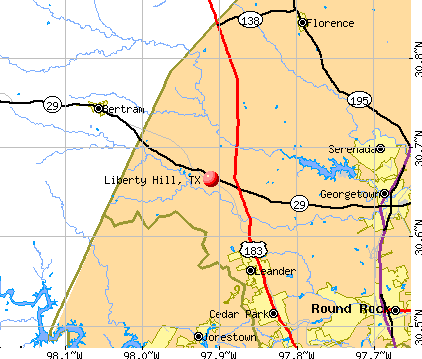 Liberty Hill, TX map