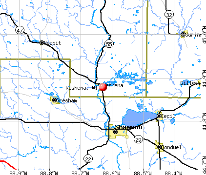 Keshena, WI map