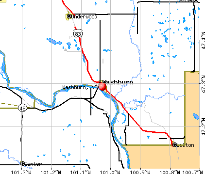 Washburn, ND map