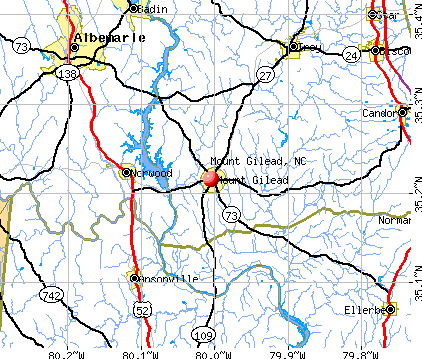 Mount Gilead, NC map