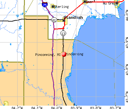 Pinconning, MI map