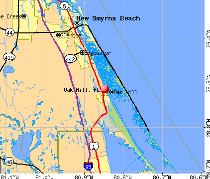 Oak Hill, FL map