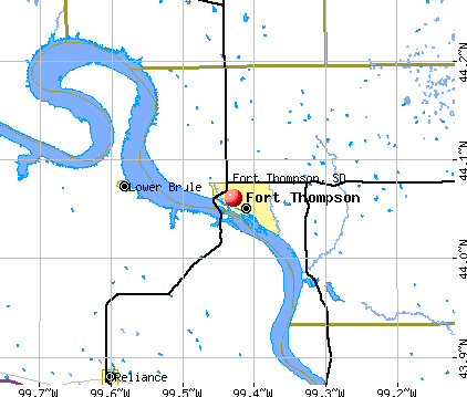 Fort Thompson, SD map