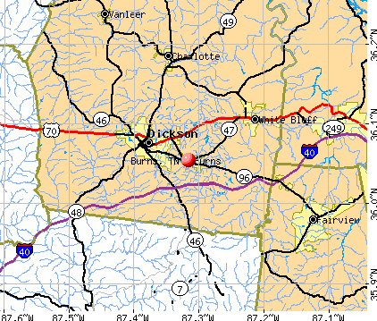 Burns, TN map