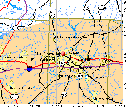 Glen Raven, NC map