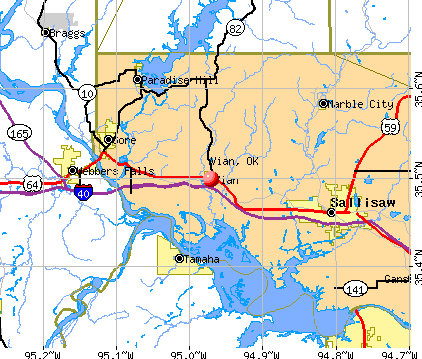 Vian, OK map
