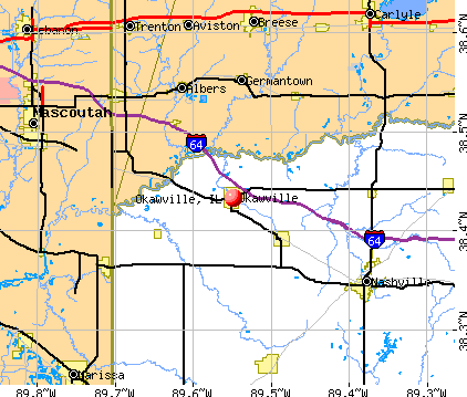 Okawville, IL map