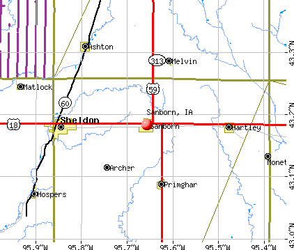 Sanborn, IA map