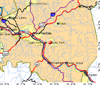 Coal Fork, WV map