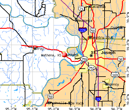 Wathena, KS map