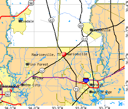 Mauriceville, TX map