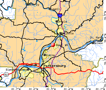 Boaz, WV map