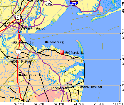 Belford, NJ map