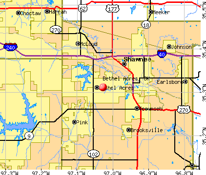 Bethel Acres, OK map
