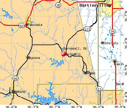 Barnsdall, OK map