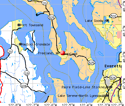 Freeland, WA map