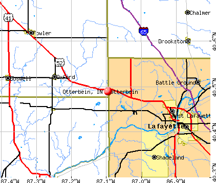 Otterbein, IN map
