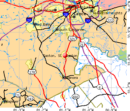 Gaston, SC map