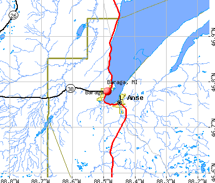 Baraga, MI map